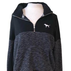 VICTORIAS SECRET PINK Black & Gray Pullover Size L